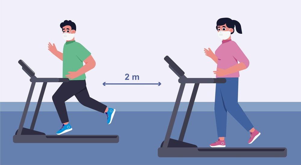 ilustracija distanciranja u fitnes centru