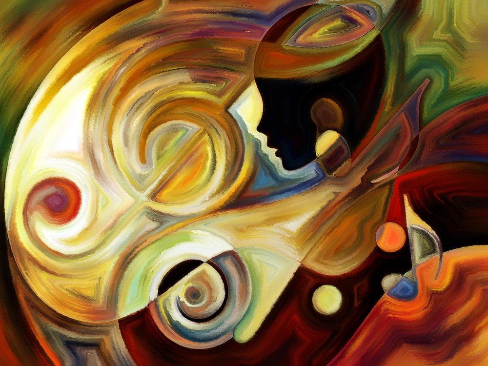 naslikana zena - apstraktna slika